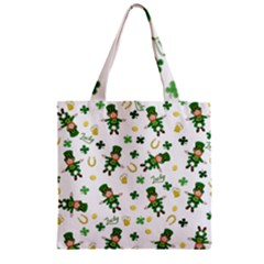 St Patricks Day Pattern Zipper Grocery Tote Bag