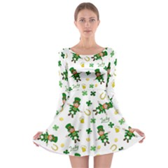 St Patricks Day Pattern Long Sleeve Skater Dress