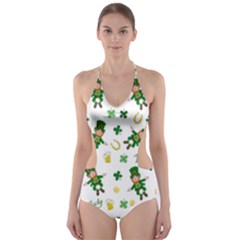 St Patricks Day Pattern Cut Out One Piece Swimsuit
