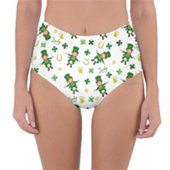 St Patricks Day Pattern Reversible High Waist Bikini Bottoms