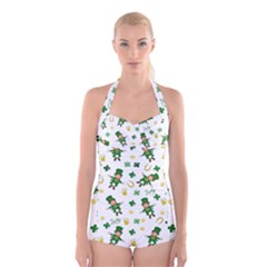 St Patricks Day Pattern Boyleg Halter Swimsuit