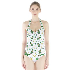 St Patricks Day Pattern Halter Swimsuit