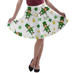 St Patricks Day Pattern A Line Skater Skirt