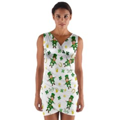St Patricks Day Pattern Wrap Front Bodycon Dress