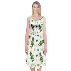 St Patricks Day Pattern Midi Sleeveless Dress