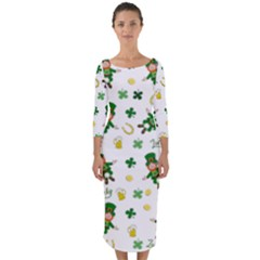 St Patricks Day Pattern Quarter Sleeve Midi Bodycon Dress