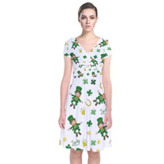 St Patricks Day Pattern Short Sleeve Front Wrap Dress