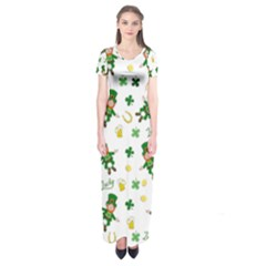 St Patricks Day Pattern Short Sleeve Maxi Dress