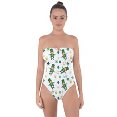 St Patricks Day Pattern Tie Back One Piece Swimsuit