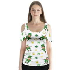 St Patricks Day Pattern Butterfly Sleeve Cutout Tee