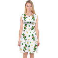 St Patricks Day Pattern Capsleeve Midi Dress
