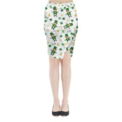 St Patricks Day Pattern Midi Wrap Pencil Skirt