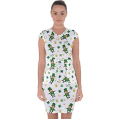 St Patricks Day Pattern Capsleeve Drawstring Dress