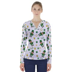 St Patricks Day Pattern V Neck Long Sleeve Top