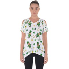 St Patricks Day Pattern Cut Out Side Drop Tee
