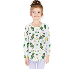 St Patricks Day Pattern Kids  Long Sleeve Tee