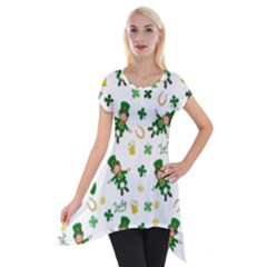 St Patricks Day Pattern Short Sleeve Side Drop Tunic