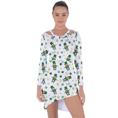 St Patricks Day Pattern Asymmetric Cut Out Shift Dress