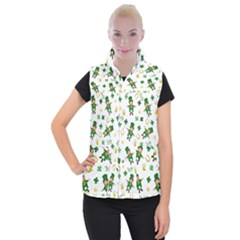 St Patricks Day Pattern Women s Button Up Puffer Vest