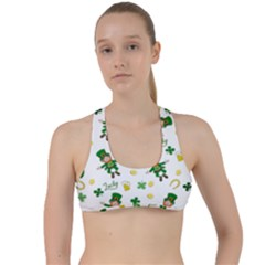 St Patricks Day Pattern Criss Cross Racerback Sports Bra