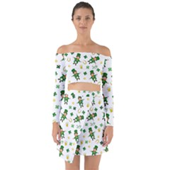 St Patricks Day Pattern Off Shoulder Top With Skirt Set