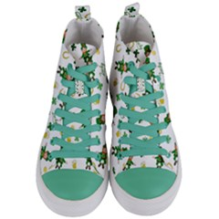 St Patricks Day Pattern Women s Mid Top Canvas Sneakers