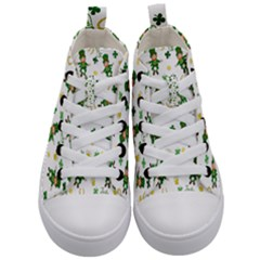 St Patricks Day Pattern Kid s Mid Top Canvas Sneakers