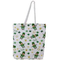 St Patricks Day Pattern Full Print Rope Handle Tote (large)