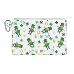 St Patricks Day Pattern Canvas Cosmetic Bag (large)