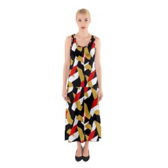 Colorful Abstract Pattern Sleeveless Maxi Dress