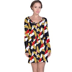 Colorful Abstract Pattern Long Sleeve Nightdress