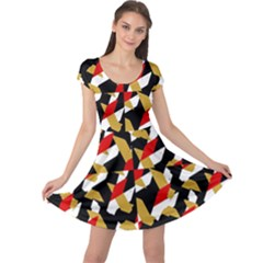 Colorful Abstract Pattern Cap Sleeve Dress