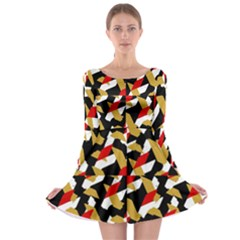 Colorful Abstract Pattern Long Sleeve Skater Dress
