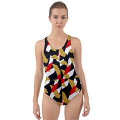 Colorful Abstract Pattern Cut Out Back One Piece Swimsuit