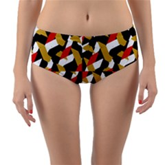 Colorful Abstract Pattern Reversible Mid Waist Bikini Bottoms