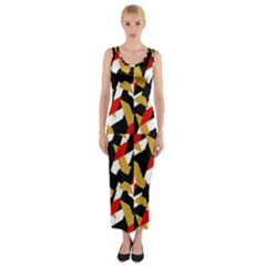Colorful Abstract Pattern Fitted Maxi Dress