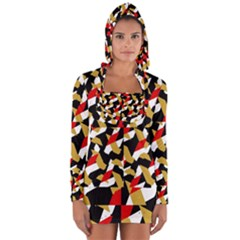 Colorful Abstract Pattern Long Sleeve Hooded T Shirt