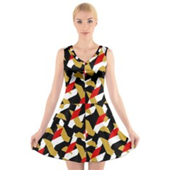 Colorful Abstract Pattern V Neck Sleeveless Skater Dress