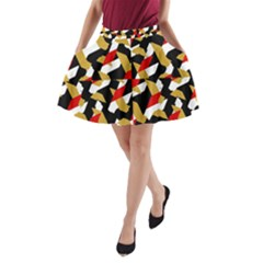 Colorful Abstract Pattern A Line Pocket Skirt