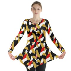 Colorful Abstract Pattern Long Sleeve Tunic