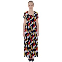 Colorful Abstract Pattern High Waist Short Sleeve Maxi Dress