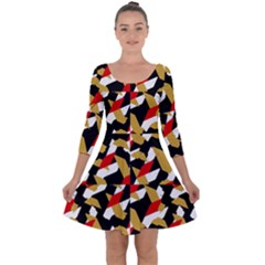Colorful Abstract Pattern Quarter Sleeve Skater Dress