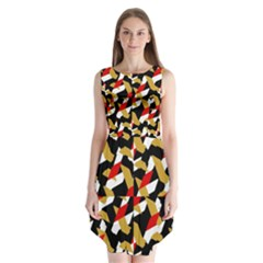 Colorful Abstract Pattern Sleeveless Chiffon Dress