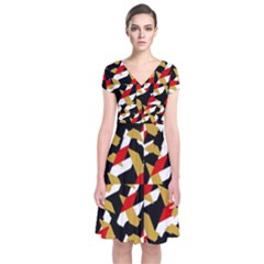 Colorful Abstract Pattern Short Sleeve Front Wrap Dress