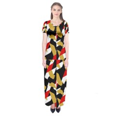 Colorful Abstract Pattern Short Sleeve Maxi Dress