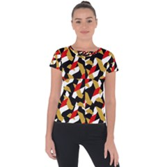 Colorful Abstract Pattern Short Sleeve Sports Top