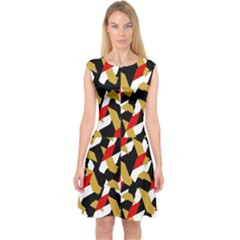 Colorful Abstract Pattern Capsleeve Midi Dress