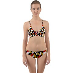 Colorful Abstract Pattern Wrap Around Bikini Set