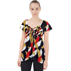 Colorful Abstract Pattern Lace Front Dolly Top