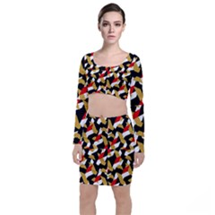 Colorful Abstract Pattern Long Sleeve Crop Top & Bodycon Skirt Set